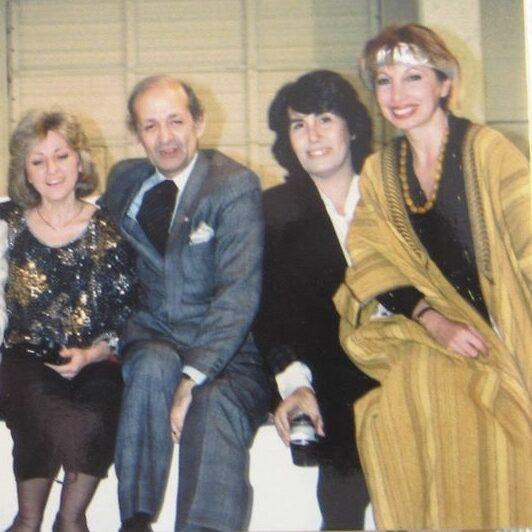 May Rihani with Lebanese artists Hrair, Wajih Nahle, and Souleima Zod.